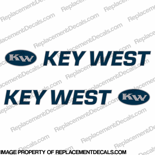 Key West Boat Decals (Set of 2) - Blue/Silver