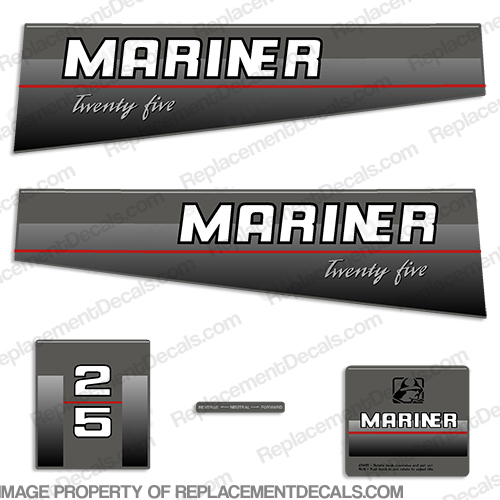 Mariner 25hp Decal Kit - 1990