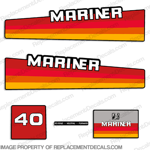 Mariner 40hp Decal Kit - 1980s Style