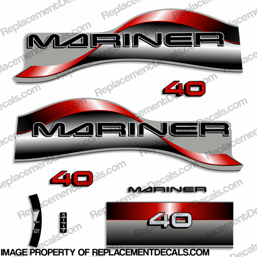 Mariner 40hp Decal Kit - 1996 - 1997 - Red