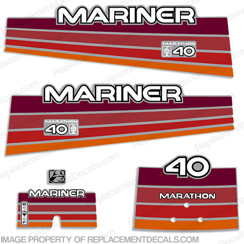 Mariner 40hp Marathon Decal Kit - 1996