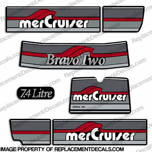 Mercruiser 1986-1998 Bravo Two 7.4 Liter Decals