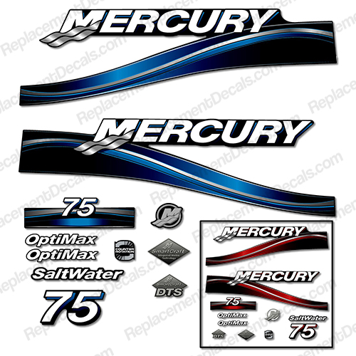 "Mercury 75hp ""Optimax"" Decals - 2005 (Red or Blue)"