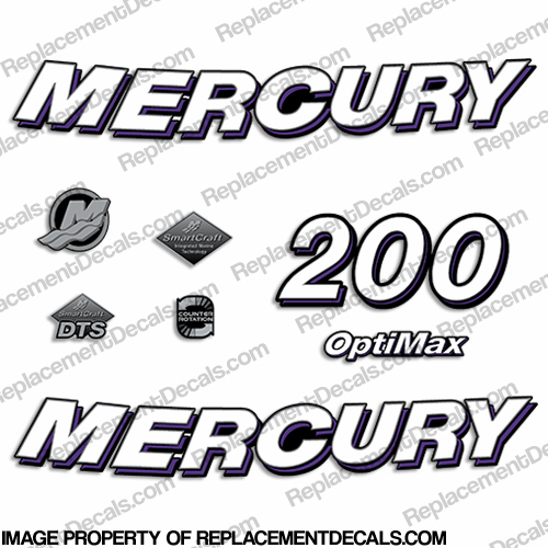 "2006 Mercury 200hp ""Optimax"" Decals - Custom Color Purple"