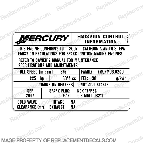 Mercury Optimax 225hp Emissions Control Label - 2007 - 2008