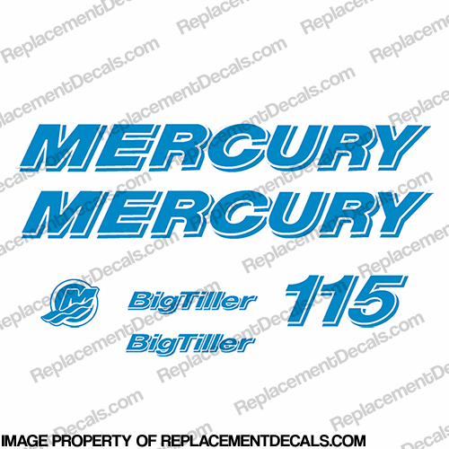 "Custom Mercury 115hp ""Big Tiller"" Decal Kit - Peacock Blue"