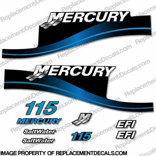 Mercury 115hp EFI Saltwater Decals - Blue