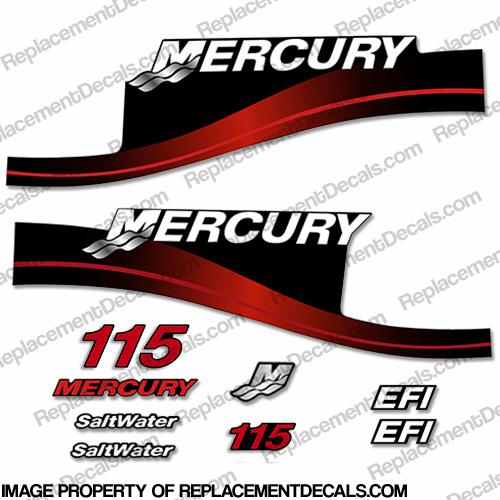 Mercury 115hp EFI Saltwater Decals - Red