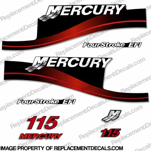 Mercury 115hp 4-Stroke EFI Decal Kit - Red