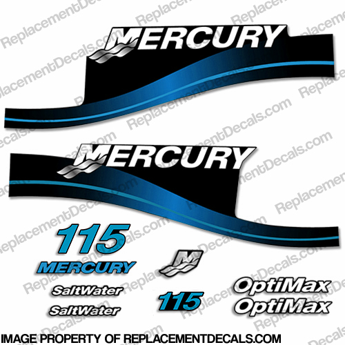 Mercury 115hp Optimax Saltwater Decals - Blue