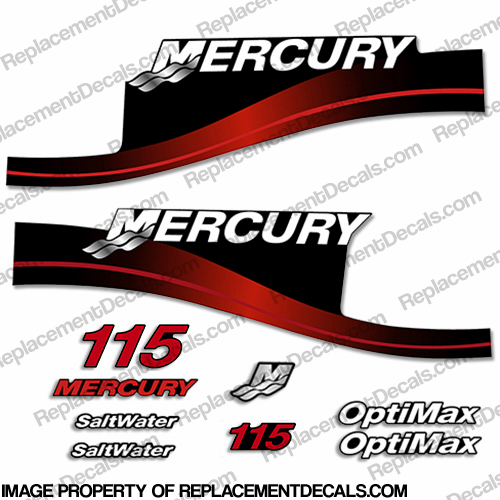Mercury 115hp Optimax Saltwater Decals - Red