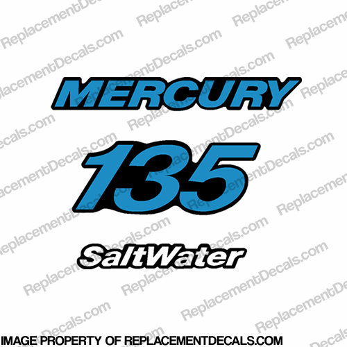 Mercury 135hp Single Rear Decals - Blue