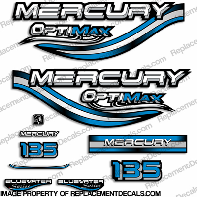 Mercury 135hp Optimax Decals - 1999 (Blue)
