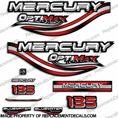 Mercury 135hp Optimax Decals - 1999 (Red)