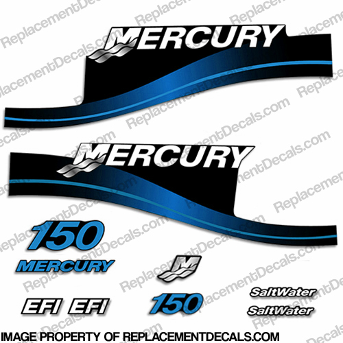 Mercury 150 EFI Saltwater Series Decals - Blue