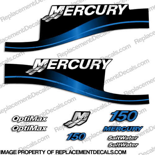 "Mercury 150hp ""Optimax"" Saltwater Series Decals - Blue"