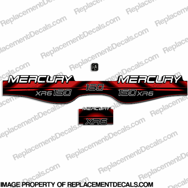 Mercury 150hp XR6 Decals - 1994 - 1998 (Red)