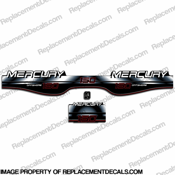 Mercury 150hp Offshore Decals (1997-1998) - White/Black