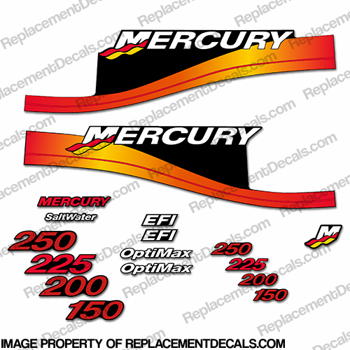 Mercury 150hp-300hp Racing Series Decals