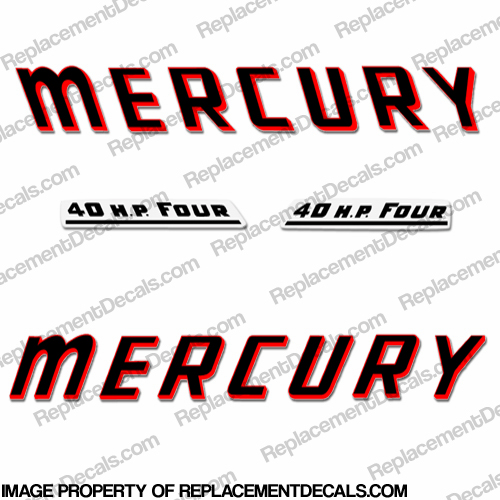 Mercury 1961 40HP Outboard Engine Decals