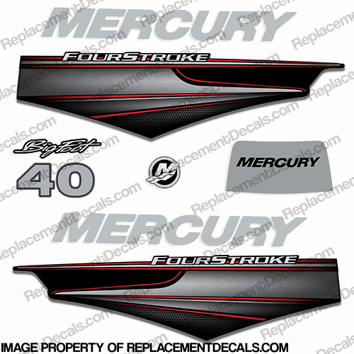 Mercury 40hp BigFoot FourStroke Decals - 2013+ big, foot, big foot, big-foot