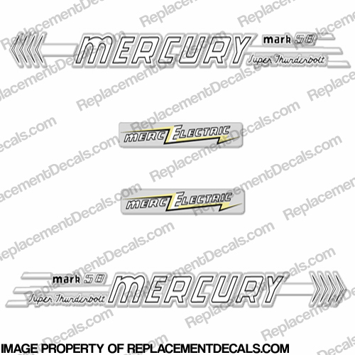 Mercury 1958 45HP Mark 58 Electric Outboard Engine Decals