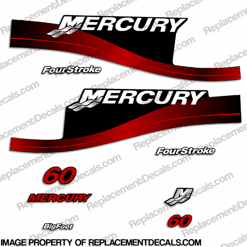 Mercury 60hp FourStroke Decals (Red) -  Early 2000