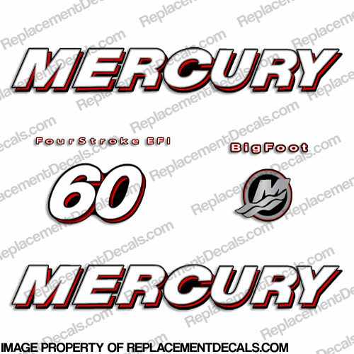 Mercury 60hp 4-Stroke EFI Bigfoot (Straight) Decal Kit big, foot, big foot, big-foot
