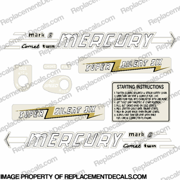 Mercury 1956 6HP Outboard Engine Decals