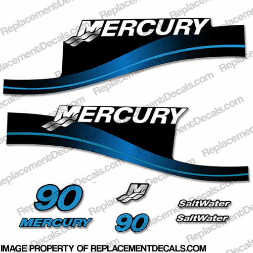 Mercury 90hp Saltwater Series Decal Kit (Blue)