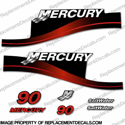 Mercury 90hp Saltwater Series Decal Kit (Red)