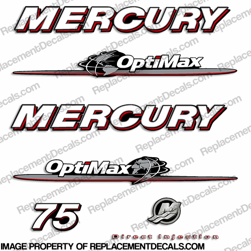 "Mercury 75hp ""Optimax"" Decals - 2007-2012"
