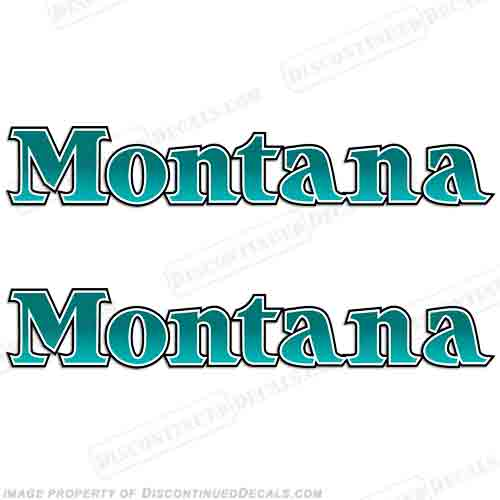 Montana Older Style Logo RV Decals (Set of 2) - Teal