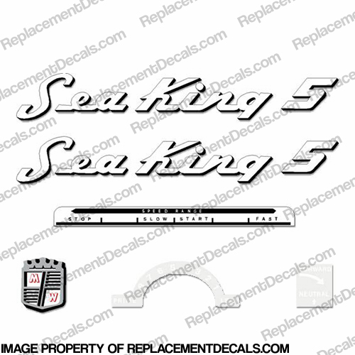 Sea King 1953-1955 5hp Decal Kit - Black Outline