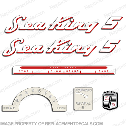 Sea King 1953-1955 5hp Decal Kit - Red Outline