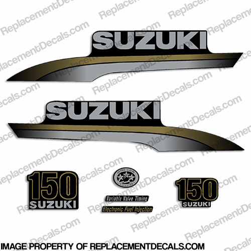 Custom Suzuki 150hp Decal Kit - Silver/Gold