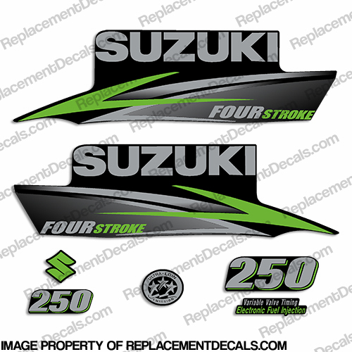 2010-2013 Suzuki 250hp FourStroke Decals - Lime Green