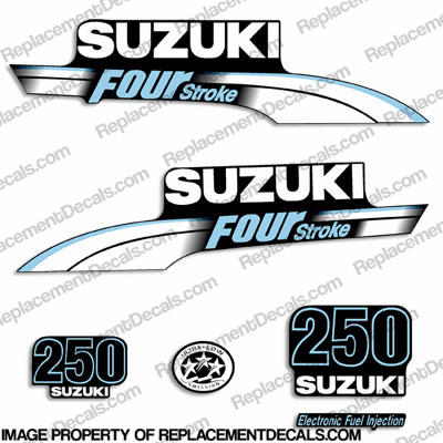Suzuki 250hp DF250 FourStroke Decal Kit - Pale Blue