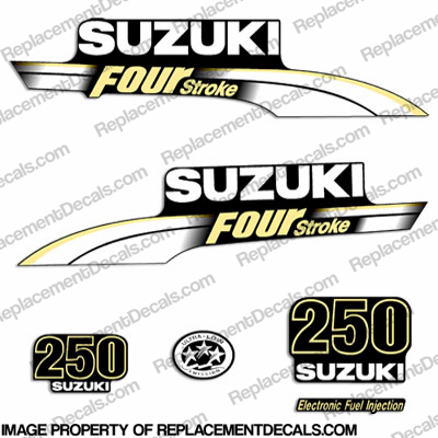 Suzuki 250hp DF250 FourStroke Decal Kit - Pale Yellow