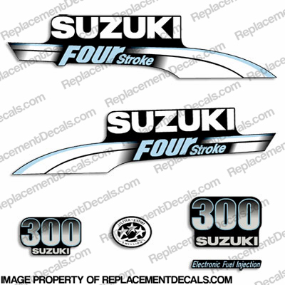 Suzuki 300hp DF300 FourStroke Decal Kit - Pale Blue