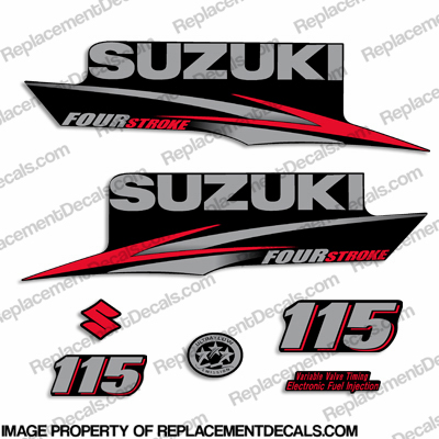 Suzuki 115hp DF115 Four Stroke Decal Kit - 2010 - 2013