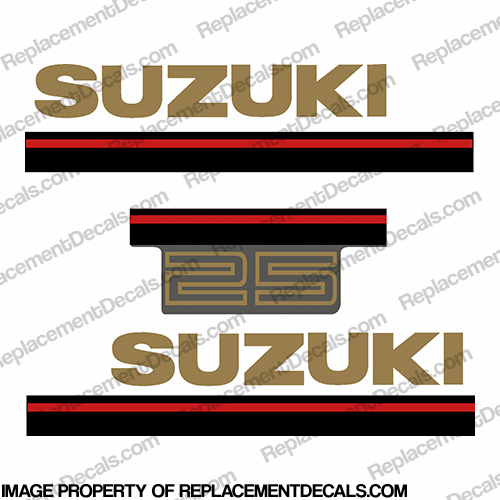 Suzuki 25hp 2-Stroke Decal Kit - 1995