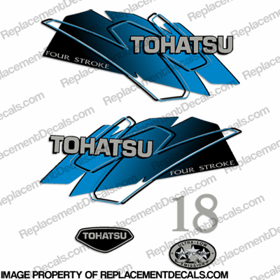 Tohatsu 18hp Four Stroke Decals - Blue