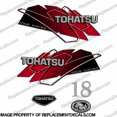 Tohatsu 18hp Four Stroke Decals - Red