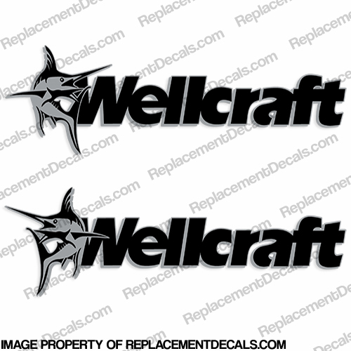 Wellcraft Boat Decals (Set of 2) - Silver/Black - Style A
