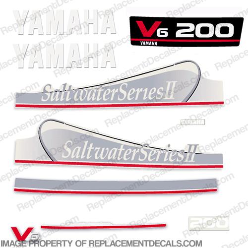 Yamaha 200hp saltwater series ii decals silver for Yamaha saltwater series ii
