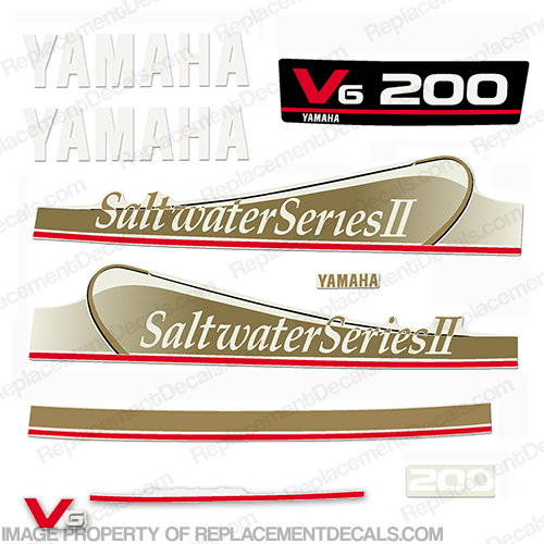 Yamaha 200hp saltwater series ii decals gold for Yamaha replacement decals