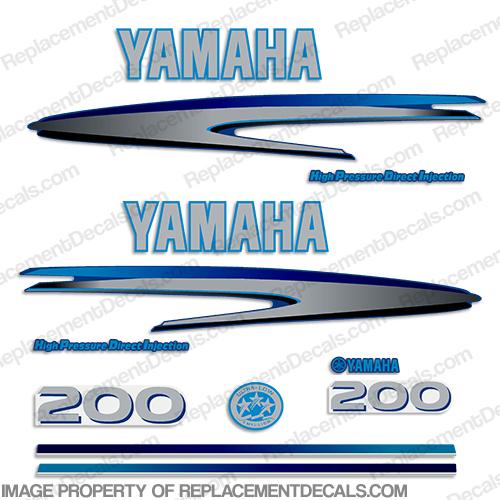 Yamaha 200hp hpdi decals custom dark light blue