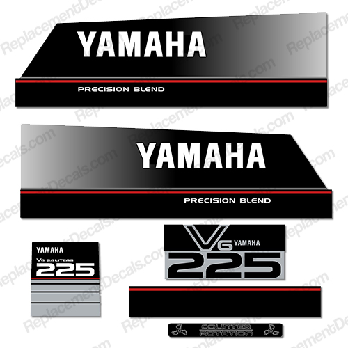 Yamaha 225hp precision blend decals for Yamaha replacement decals