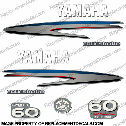 Yamaha 60hp 4 stroke high thrust decal kit for Yamaha replacement decals
